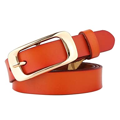 UK Fashion Ladies 3.3cm Wide  Leather Belts Jeans Belt With Metal Buckle