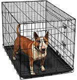 OxGord Double-Door Folding Metal Pet Crate with Divider - 36 Inch