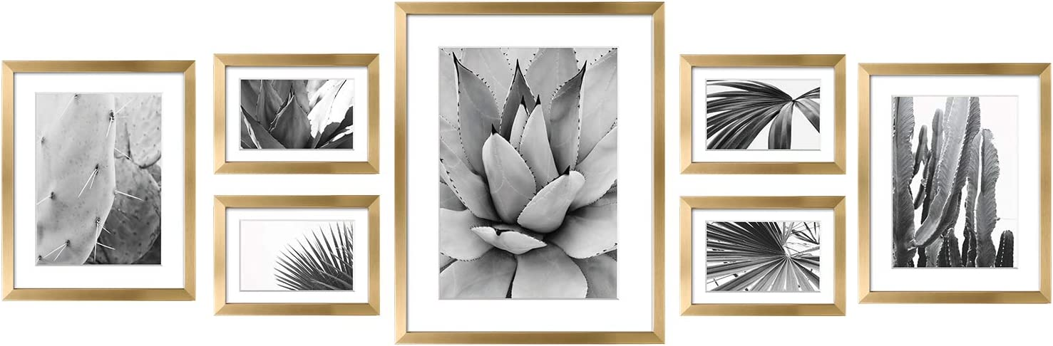ArtbyHannah 7 Pcs Gold Gallery Wall Picture Frames Kit with Decorative Art Prints& Hanging Template Wall Art Decor Photo Frame Collection for Living Room or Bathroom Decoration