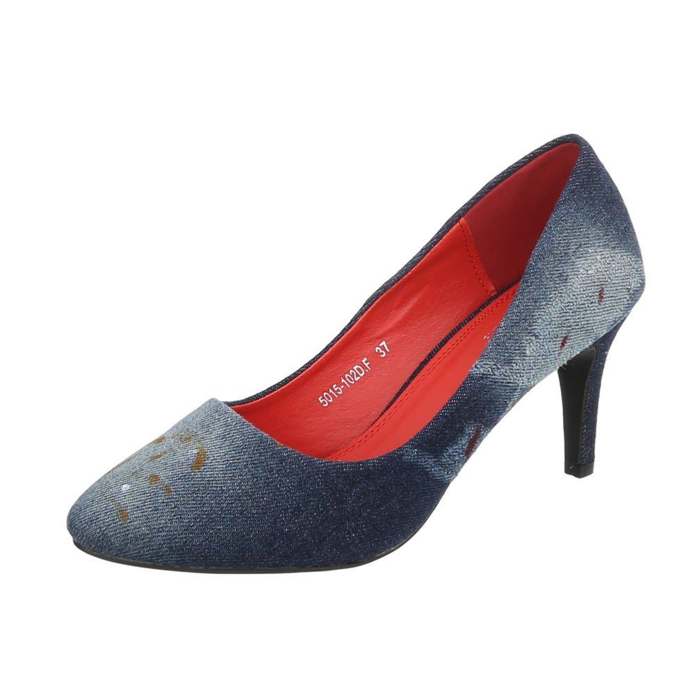 TALLA 36 EU. Ital-Design Zapatos para Mujer Zapatos de Tacon Tacón de Aguja Tacones Altos