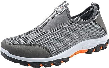 Zapatillas Hombres De Deporte Sin Cordones De Montañismo Deporte Running Zapatos para Correr Gimnasio Sneakers Deportivas Transpirables Casual Zapatos De Calados JORICH (Gris, EU:40 25cm/9.8