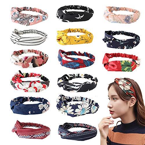 Thunaraz 15PCS Headbands Women Headwraps Hair Bands Boho Knotted Floal Style Criss Accessories