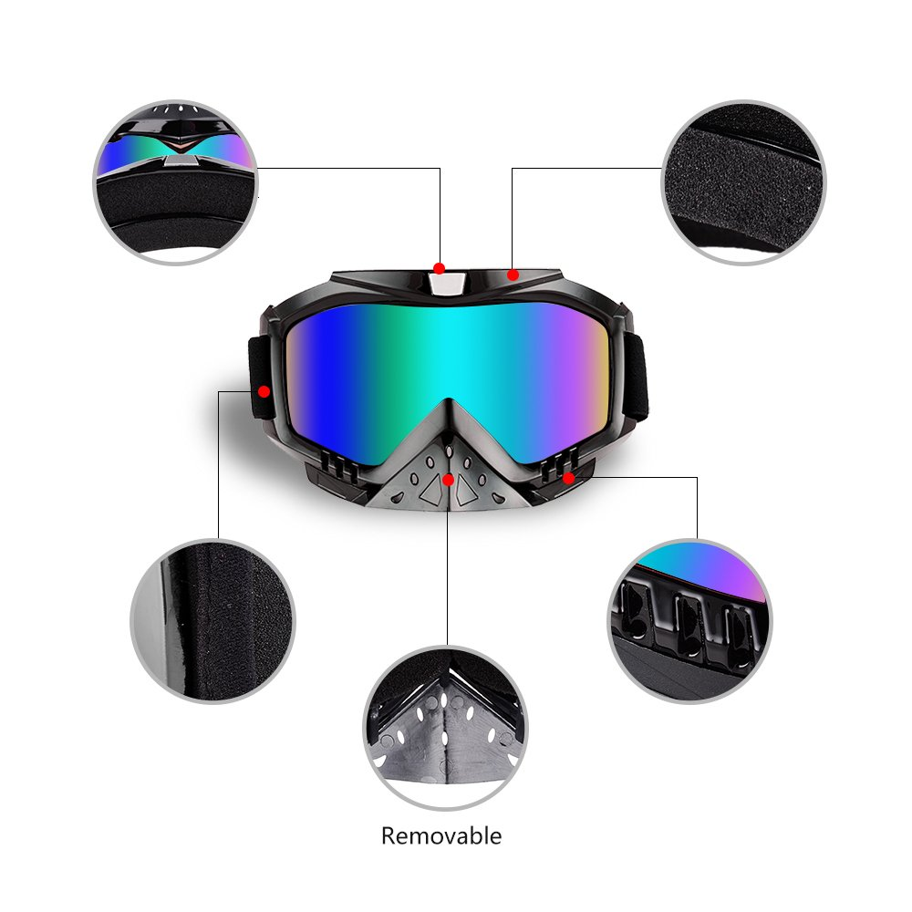 Motocross Goggles Grip For Helmet Clear Lens Motorcycle Goggles Dmeixs Windproof Dustproof Anti Fog Helmet Goggles for ATV Off Road Racing with Cool Look Headwear