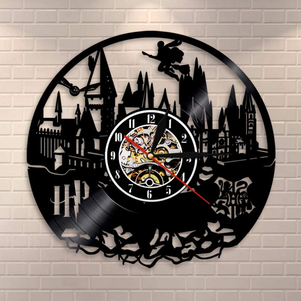 WWGZ Reloj de Vinilo Pared Registro Reloj de Pared Record Creativo Retro Nostálgico Harry Potter Reloj de Pared Interior-A 30cm(12inch)