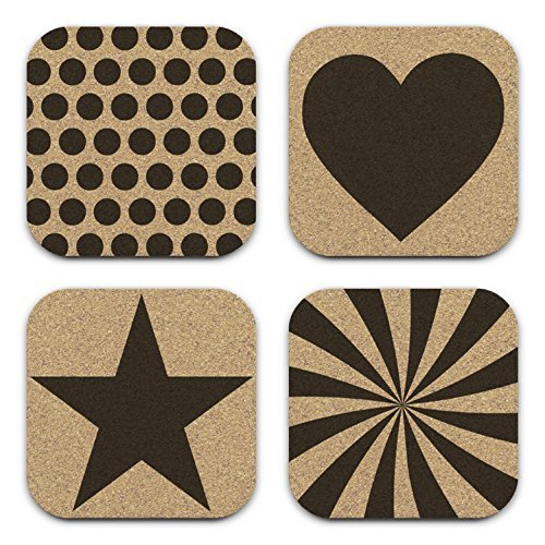 Hearts Star Polka Dots Mixed Design Cork Coaster Gift Set of (Dots Coasters)