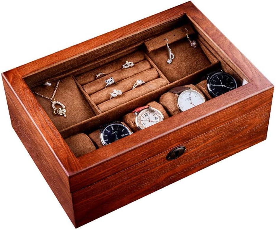 Caja de almacenamiento Caja De Reloj De Almacenamiento Exhibición De La Joyería Del Gabinete Con El Capítulo De Cuero De La PU Del Caso De Los Hombres De La Cubierta De Cristal Para la joyería collare