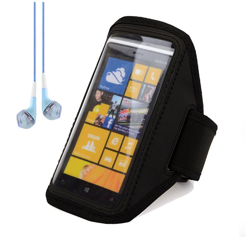 sumaccn Adjustable Running Sports Gym Armband Case Cover for Nokia Lumia Series Smartphones Windows Phone 8 (Black) + Blue VanGoddy Headphones With MIC