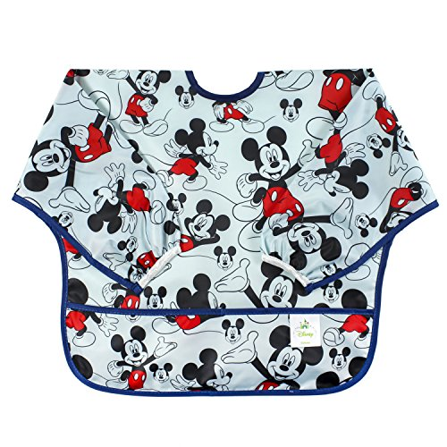 Boys Toddler Long Sleeved Disney - Bumkins Disney Mickey Mouse Sleeved Bib / Baby Bib / Toddler Bib / Smock, Waterproof, Washable, Stain and Odor Resistant, 6-24 Months  -  Classic