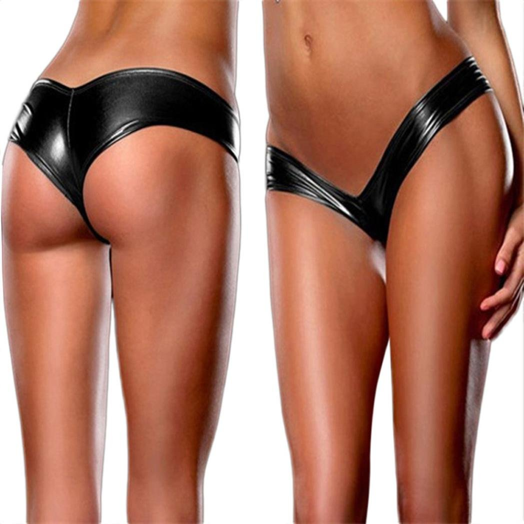 Sumen Leather Underpants Women Thongs (Free Size, Black) by Sumen (Image #1)