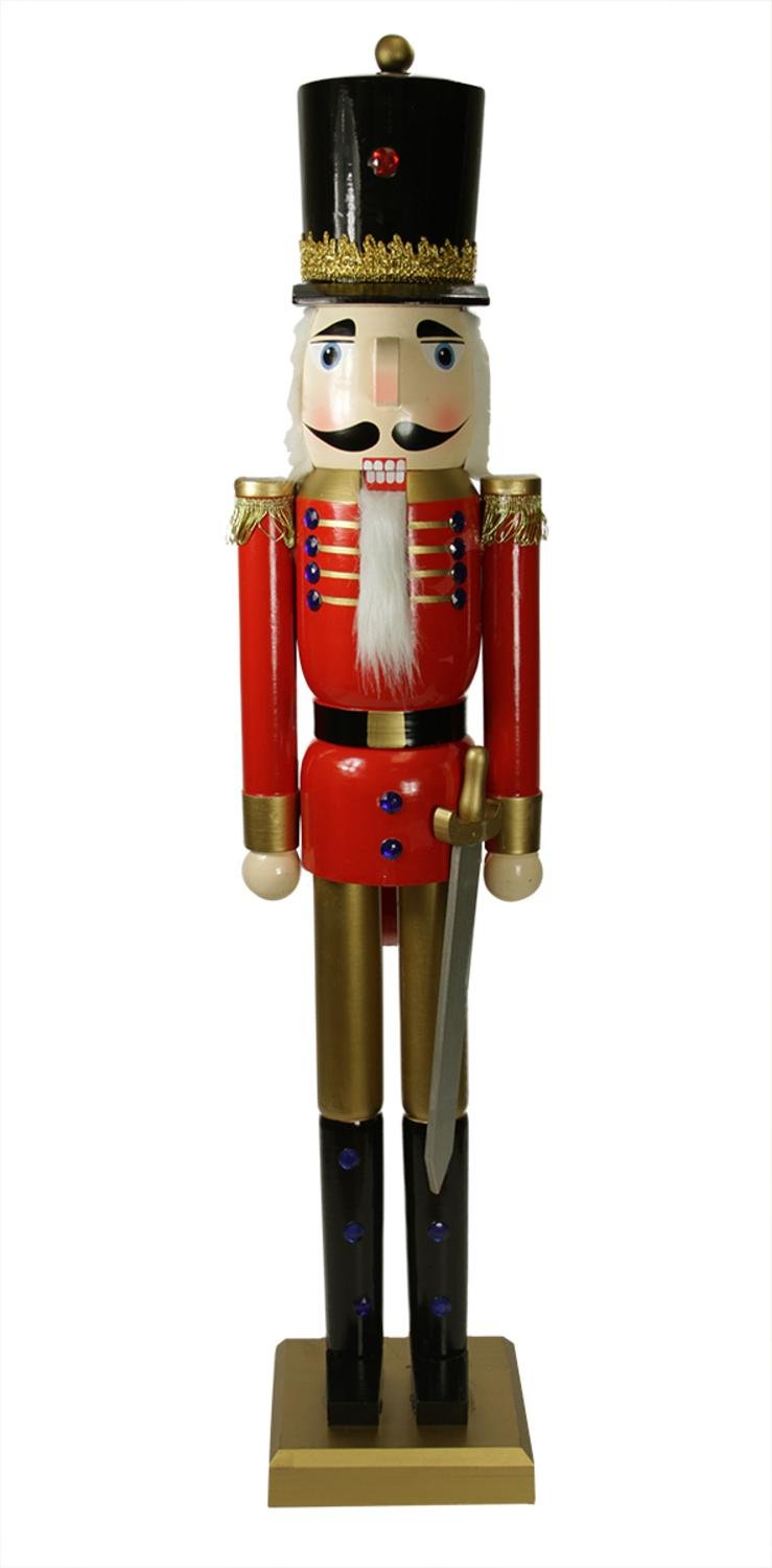 36'' Decorative Red and Gold Wooden Christmas Nutcracker Soldier with Sword