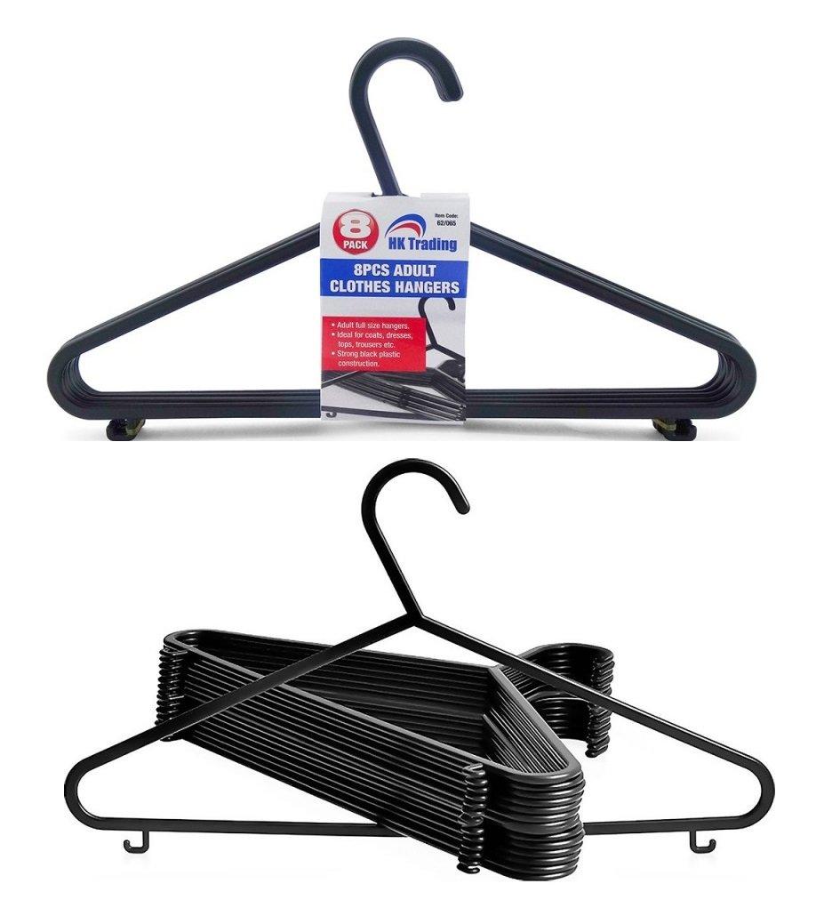 8 x calidad negro plástico ropa perchas - perchero colgador ...