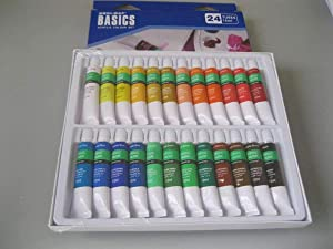 Acrylic Paint Set 24 Colors x 12 ml Tubes Perfect for Canvas Wood Ceramic Fabric Non-Toxic Vibrant Colors for Beginners Students Professional Artist Heavy Body Lightfast Artist Quality Paints