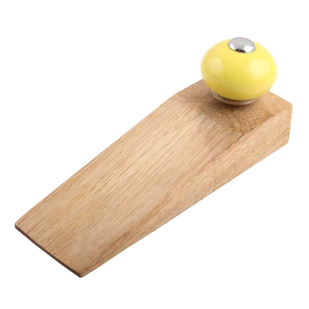 IndianShelf Set of 3 Handmade Yellow Round Wooden Ceramic Door Stoppers Premium Stop Wedge Work On All Floors Non Stretching Strong Grip