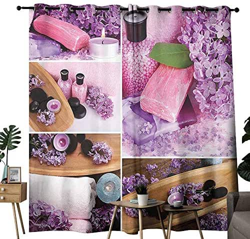 Home Decor Collection Light luxury high-end curtains Aromatic Spa with Lilac Petals Fresh Therapy Oils Bath Salt Soap Relax Theme Meditation Collage Darkening and Thermal Insulating W84