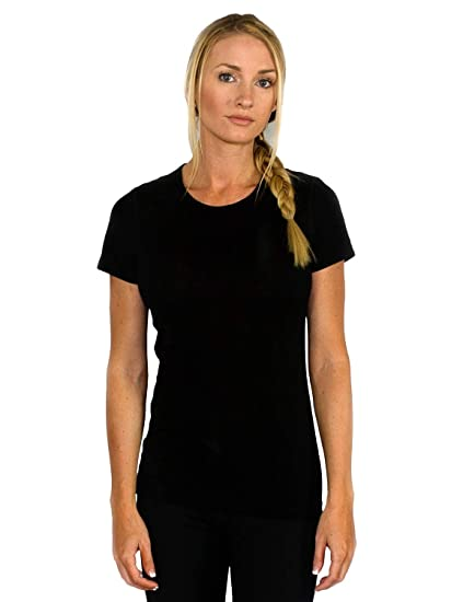 9616471f Woolx Women's Addie Soft Lightweight Merino Wool Tee,Eliminates Odor &  Sweat, Black,