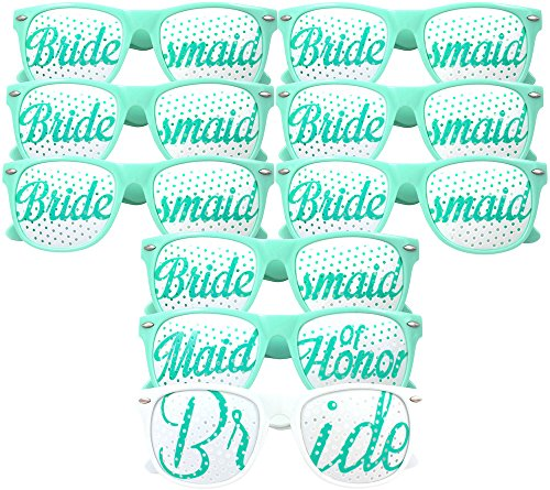 Bride Bridesmaid Glasses 9pc Set - Party Favors for Bridal Shower, Bachelorette Party & Wedding - 9 Pairs - Themed Novelty Sunglasses - Fun as Photo Booth Props too! (9pcs, - 9 Sunglasses Tribe