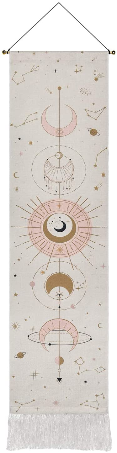 Moon Phase Tapestry Moon Tapestry Wall Hanging Art Bohemian Tapestries Cotton Linen Tapestry for Room (White, 12.8 x 51.2 inches)