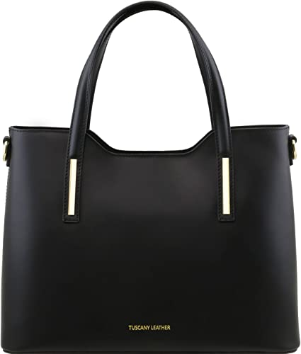 Cuir En Ruga Olimpia Leather Sac Tuscany Noir Cabas E29HYDIW