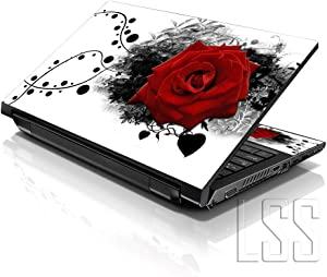 "LSS Laptop 17-17.3"" Skin Cover with Colorful Red Rose Floral Pattern for HP Dell Lenovo Apple Asus Acer Compaq - Fits 16.5"" 17"" 17.3"" 18.4"" 19"" (2 Wrist Pads Free)"