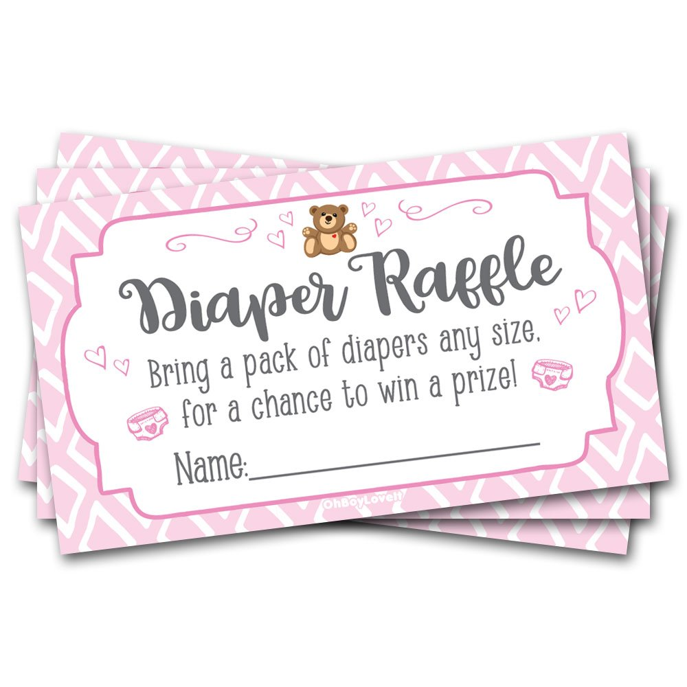 50 Diaper Raffle Tickets Pink Teddy Bear Baby Shower Theme - Girl Shower Game Activity Oh Boy Love It