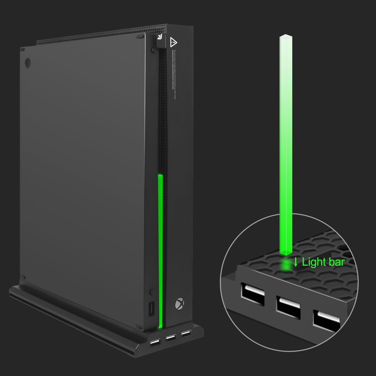 Only Compatible with Xbox one X Vertical Cooling Stand Compatible with Xbox One X FastSnail Cooling Fan Stand Compatible with Xbox One X with 3 USB Ports and a Light Bar