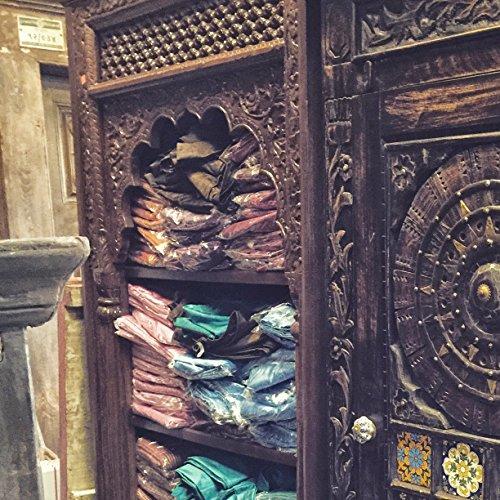 Antique Indian Book Case Bookshelf Arched Frame Patina Carved Wood