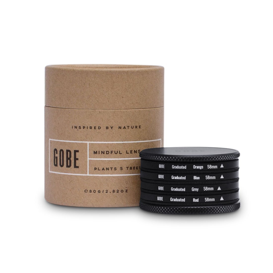 Gobe Graduated Color 58mm Filters: Orange, Blue, Grey, Red