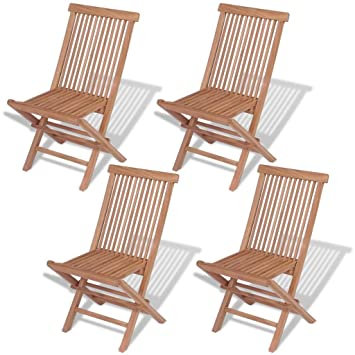VidaXL Set Of 4 Patio Teak Wood Folding Chairs Outdoor Seating Garden Seat