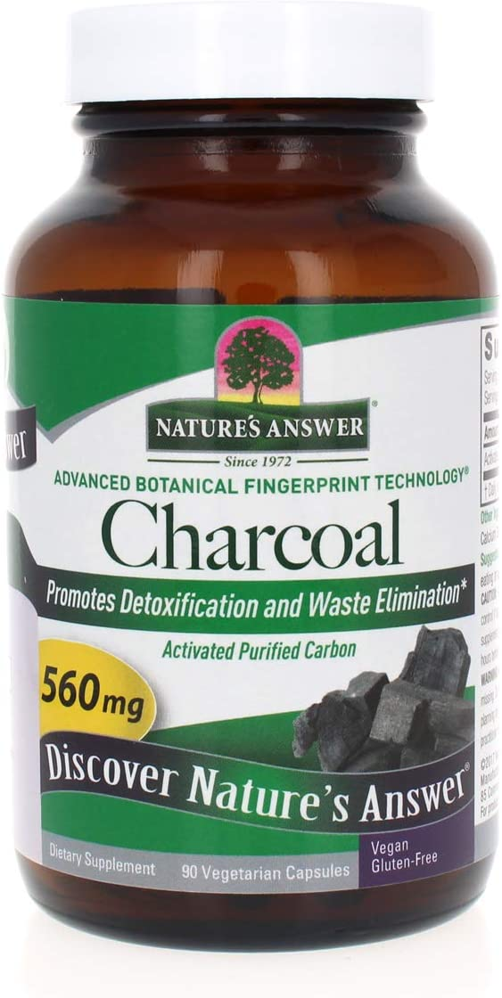 Nature's Answer Activated Charcoal Vegetarian Capsules | Naturally Promotes Detoxification & Waste Elimination | Vegan, Gluten-Free, Alcohol-Free & No Preservatives 90ct.: Health & Personal Care