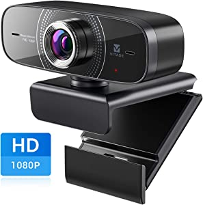 Webcam 1080P with Microphone HD Web Cam 30fps, Vitade 826M USB Computer Web Camera Cam for Streaming Gaming Conferencing Mac Windows 8 10 PC Laptop Desktop Zoom Skype OBS Twitch YouTube, Plug & Play