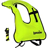 Lyuwpes Inflatable Snorkel Vest Adult Snorkeling Jackets Vests Free Diving Swimming Safety Load Up to 220 Ibs