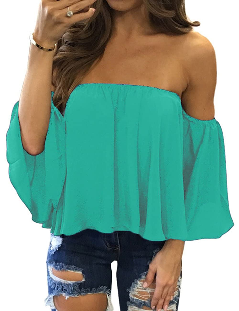 Women Casual Pullover Tops Off Shoulder Chiffon Blouse JXX0011-CA