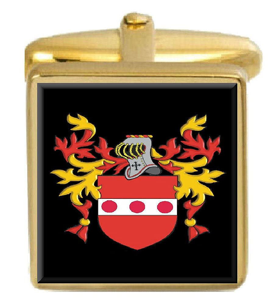 Select Gifts Kindland Ireland Family Crest Surname Coat Of Arms Gold Cufflinks Engraved Box