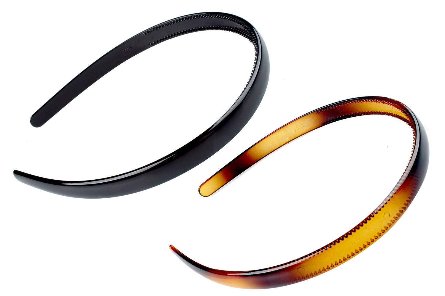 KALIYOTO Set Of 2 Zig Zag Black Plastic Sharks Tooth Hair Comb Headband (1 Black +1 Brown Color)
