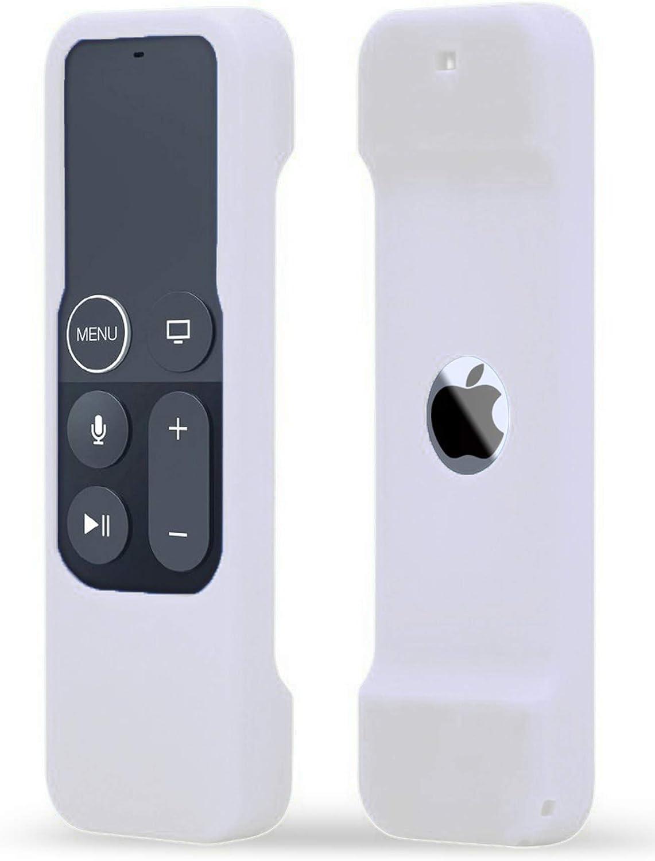 TOKERSE Silicone Case Compatible with Apple TV 4K 4th 5th Generation Siri Remote - Anti-Slip Shock Proof Soft Remote Cover Case Compatible with Apple TV 4K 4th 5th Gen Siri Remote Controller - White