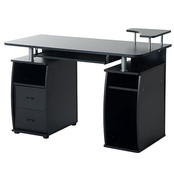 Mesa de Ordenador Escritorio de Oficina Mesa de PC Mesa con Cajonera mobiliario de despacho y oficina 120x55x85cm Madera Negro