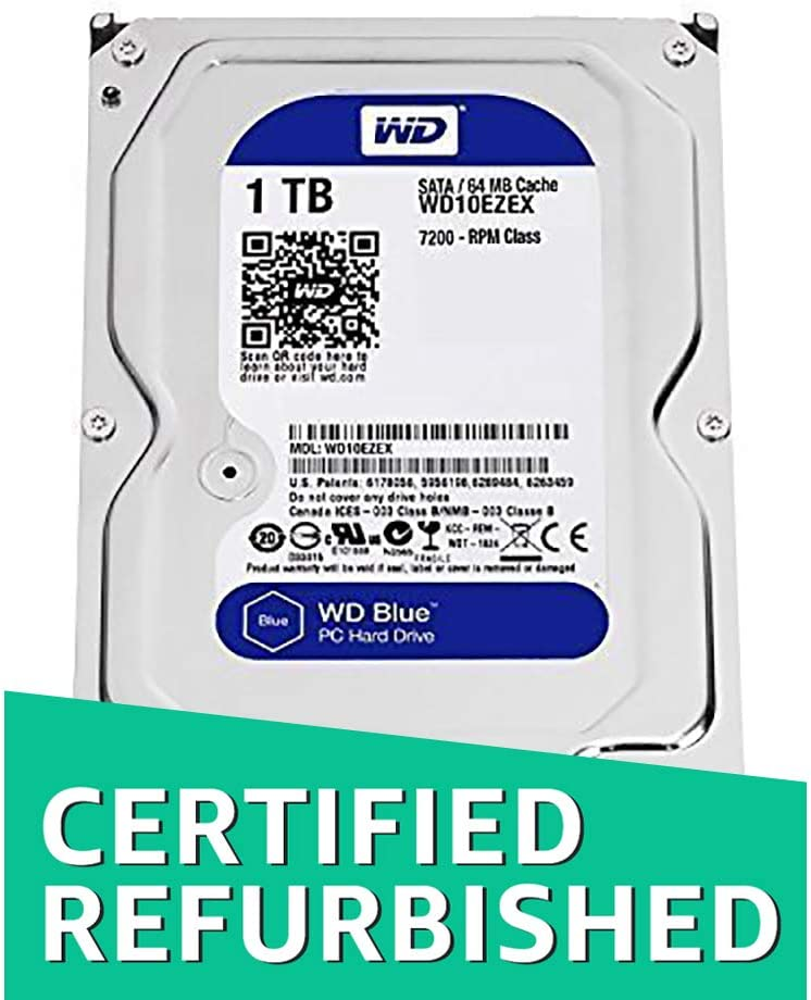 WD Blue 1TB SATA 6 Gb/s 7200 RPM 64MB Cache 3.5 Inch Desktop Hard Drive WD10EZEX (Renewed)