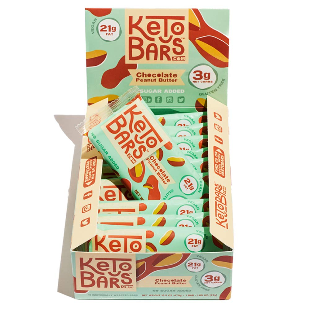 Keto Bars! The Original High Fat, Low Carb, Ketogenic Bar. Gluten Free, Vegan, Homemade with simple ingredients. [Chocolate Peanut Butter, 10 Pack] by Keto Bars
