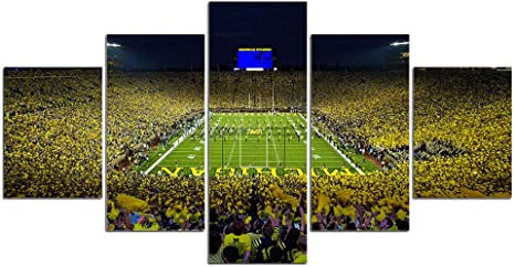 Large Framed Michigan Wolverines Flag 5 Piece Canvas Print Wall Art Home
