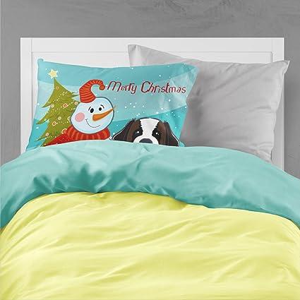 Carolines Treasures BB1866PILLOWCASE Snowman with Saint Bernard Fabric Standard Pillowcase Multicolor Large