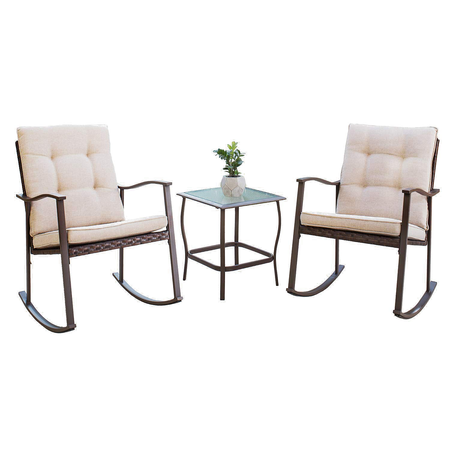 SOLAURA Outdoor Furniture 3-Piece Rocking Wicker Patio Bistro Set Brown Wicker with Beige Cushions – Two Rocking Chairs with Glass Coffee Table