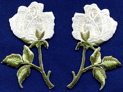 White Roses Pair Flowers Floral Retro Boho Hippie Embroidered Appliques Iron-ons Patches New Measures 2.13 inches Wide by 2.88 inches -
