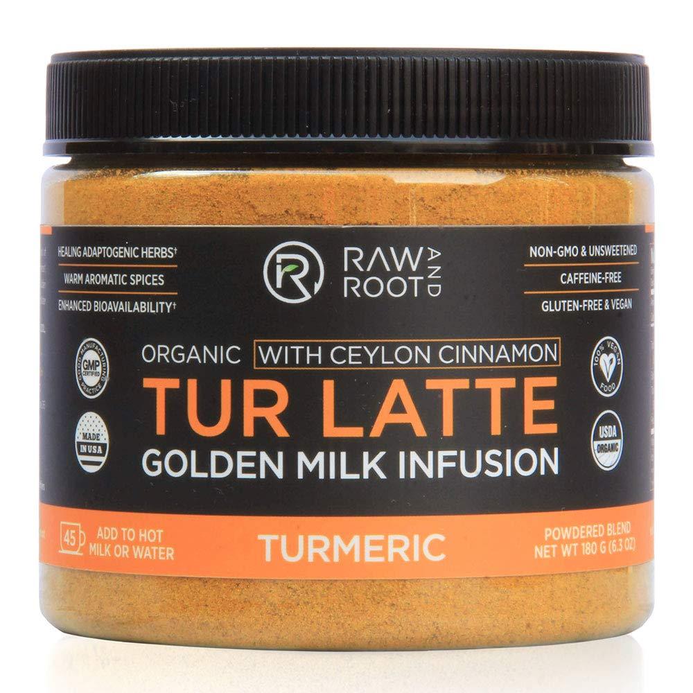 TUR LATTE - USDA ORGANIC CERTIFIED GOLDEN MILK POWDER WITH CEYLON CINNAMON - Turmeric Latte Mix - Superfoods - Anti-Inflammatory, Non-GMO, Vegan, Keto, Gluten-free, Unsweetened (45 servings)