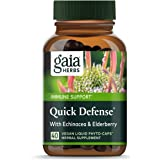 Gaia Herbs, Quick Defense, Fast-Acting Immune Support, Echinacea, Ginger Root, Sambucus Black Elderberry, Vegan Liquid Phyto Capsules, 40 Count