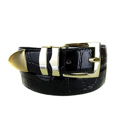 Black Bonded Alligator Skin High Quality Fashion Dress Belt