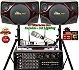 IDOLPRO 800W Professional Home Karaoke System With Dual Channel Wireless Microphones And Red Cherry Wood 10″ Speakers – FREE Speaker Cables