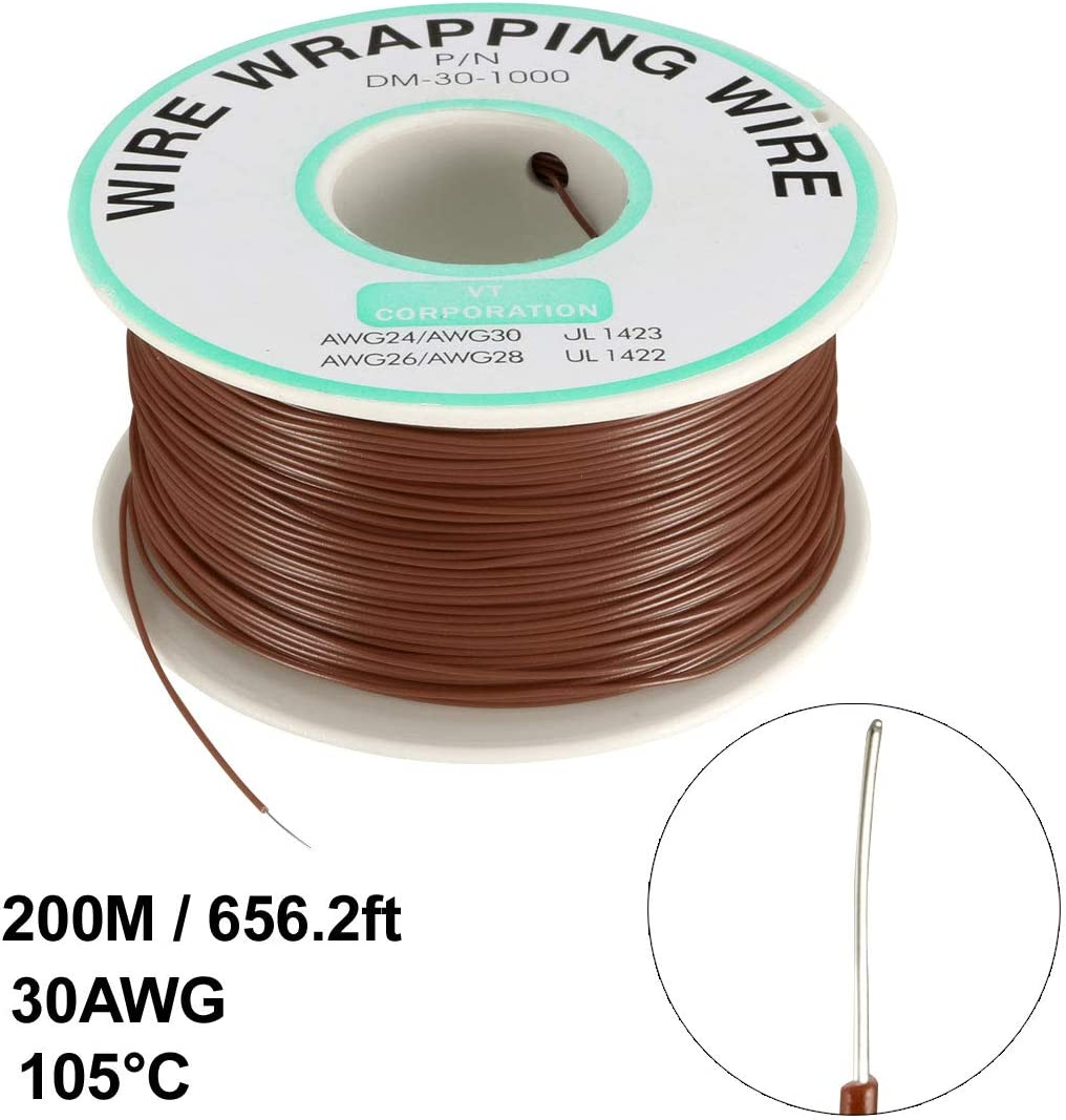 uxcell OK Wire Tin Plated Copper Cord Wire Wrapping P//N DM-30-1000 30 AWG 820ft Length Orange