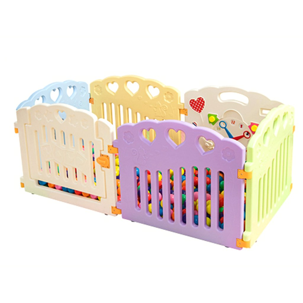 Plastic Small Baby Playpen with Door, Multicolor Room Divider Child Kids Barrier (Size : 6 Panel)