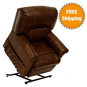 Catnapper Power Lift Full Lay Out Chaise Recliner With Comfort Coil Seating  U2013 Top Grain Leather Where The Body Touches U2013 Stylish Padded Arms (Tobacco)  ...