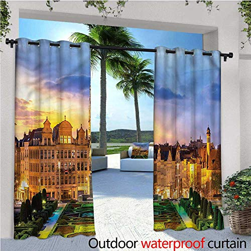 warmfamily European Balcony Curtains Brussels Cityscape Gothic Outdoor Patio Curtains Waterproof with Grommets W96 x L108 -